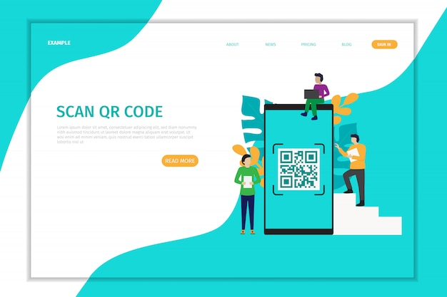 Zaprojektuj stronę docelową wektor skanowania kodu qr