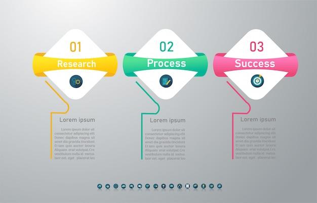 Zaprojektuj szablon biznesowy 3 opcje infographic element wykresu.