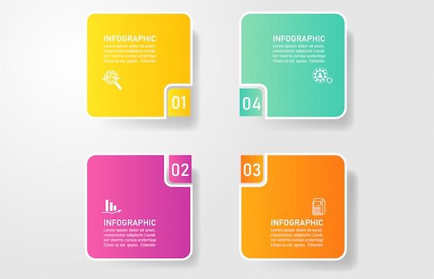 Zaprojektuj szablon biznesowy 4 opcje infographic dla prezentacji.