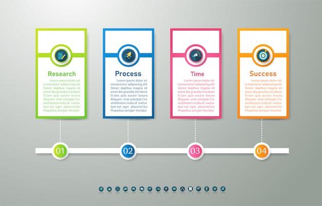 Zaprojektuj szablon biznesowy 4 opcje lub kroki infographic element wykresu.
