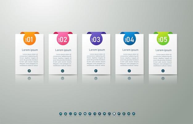 Zaprojektuj szablon biznesowy 5 opcji lub etapów element wykresu infographic.