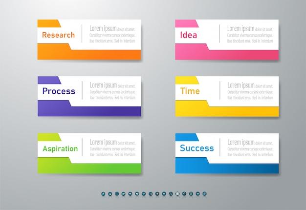 Zaprojektuj szablon biznesowy 6 opcji infographic element wykresu.