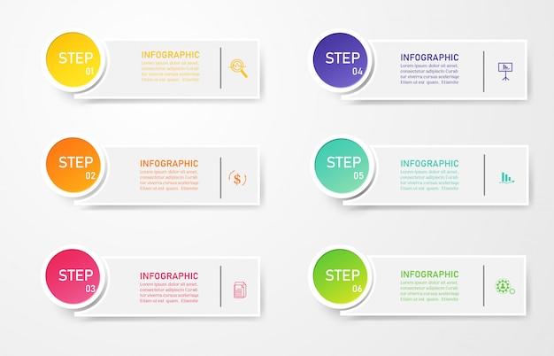 Zaprojektuj szablon biznesowy 6 opcji infographic prezentacji.