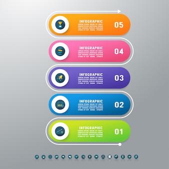 Zaprojektuj szablon biznesowy pięć opcji infographic element wykresu.