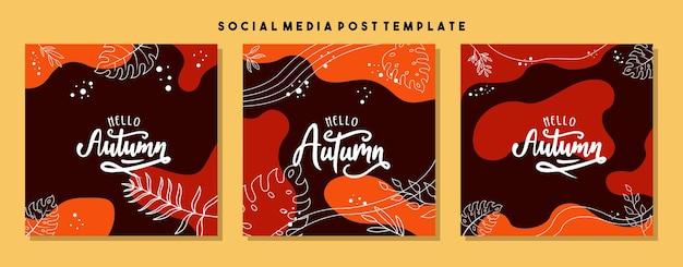 Zaprojektuj tła dla banera mediów społecznościowych zestaw szablonów ramek postów w mediach społecznościowychokładka wektorowa