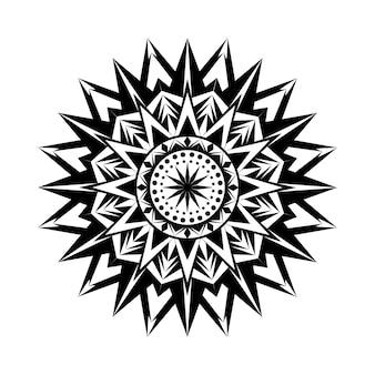 Zaprojektuj tło luksusowego ornamentu mandali z prostym motywem w czerni i bieli