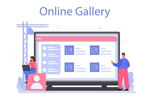 Zaprojektuj usługę lub platformę online. projektowanie graficzne, internetowe, poligraficzne. cyfrowy rysunek z narzędziami i sprzętem elektronicznym. galeria online.