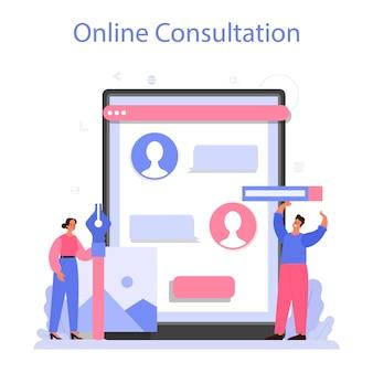 Zaprojektuj usługę lub platformę online. projektowanie graficzne, internetowe, poligraficzne. cyfrowy rysunek z narzędziami i sprzętem elektronicznym. konsultacje online. płaski wektor ilustracja