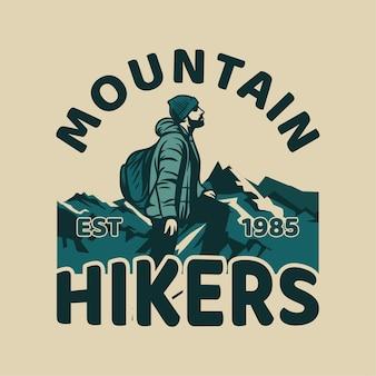 Zaprojektuj wędrowców górskich z człowiekiem piesze wycieczki vintage ilustracji