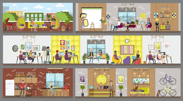 Zaprojektuj wnętrza studia z osobami pracującymi.