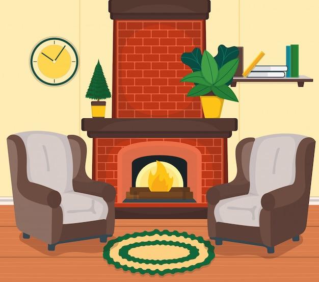 Zaprojektuj wnętrze pokoju wiejskiego domu, fotel kominek zegar ścienny i ilustracja kreskówka roślina doniczkowa. drewniany dywan podłogowy, boczna półka z książką.