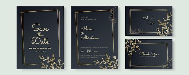 Zaprojektuj zestaw szablonów zaproszenia ślubne. ręcznie rysowane złote kwieciste elementy tekstury i złote ramki na czarnym tle