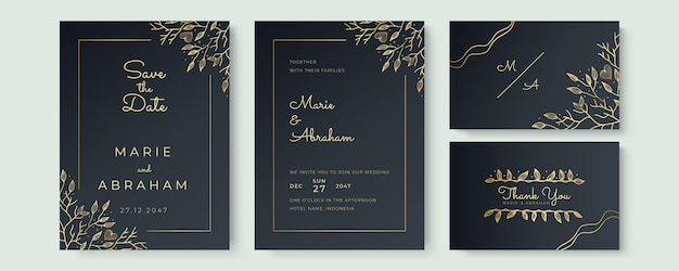 Zaprojektuj zestaw szablonów zaproszenia ślubne. złote kwieciste elementy tekstury i złote ramki na czarnym tle są rysowane ręcznie