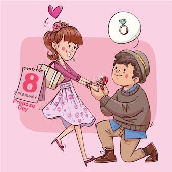 Zaproponuj dzień super słodkiej miłości wesoła romantyczna walentynkowa para randkowa prezent ręcznie rysowane pełny kolor ilustracji