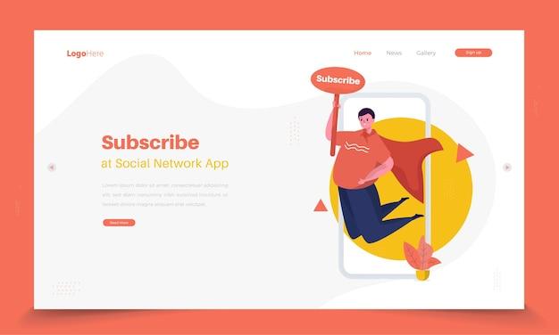 Zaproś do subskrypcji sieci społecznościowej na temat koncepcji strony docelowej