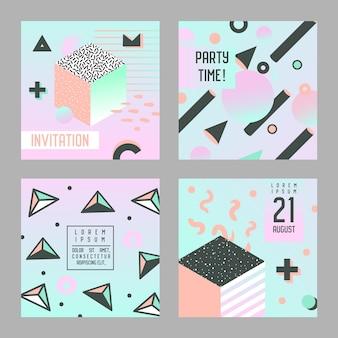 Zaproszenia i gratulacje ustaw styl memphis. abstrakcyjne szablony ulotek banerowych plakatów z elementami geometrycznymi.