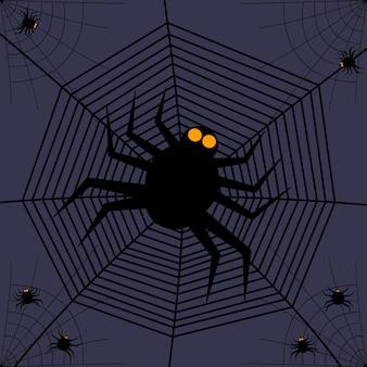 Zaproszenia na halloween lub kartkę z życzeniami z pajęczynami i pająkami. ilustracja wektorowa. miejsce na tekst