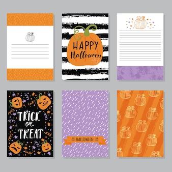 Zaproszenia na imprezę halloweenową i szablony plakatów z ulotką z życzeniami
