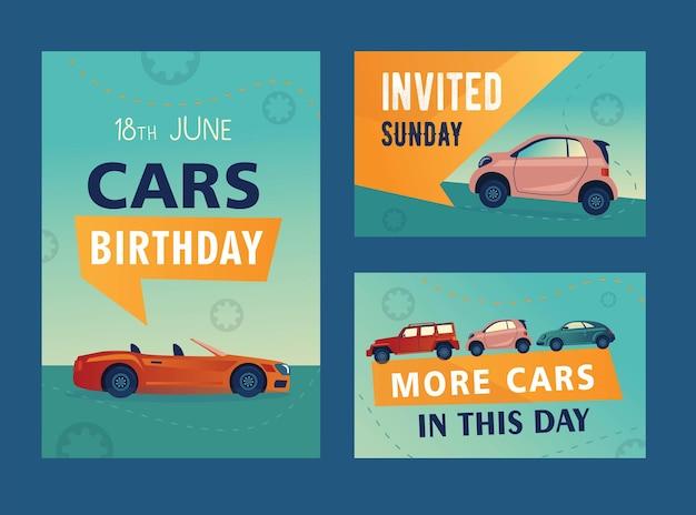 Zaproszenia na przyjęcie urodzinowe kreatywnych samochodów.