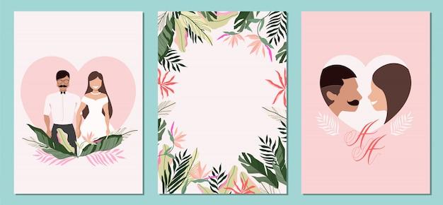 Zaproszenia na tropikalny ślub. letnie kartki ślubne. panna młoda i pan młody tropikalny miesiąc miodowy na hawajach. koncepcja dżungli. zapisz szablon rsvp z datą. szczęśliwa romantyczna para. projekt karty ślubu.
