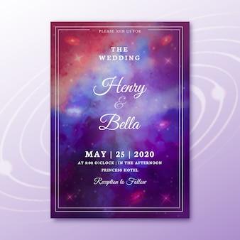 Zaproszenia ślubne akwarela galaktyki