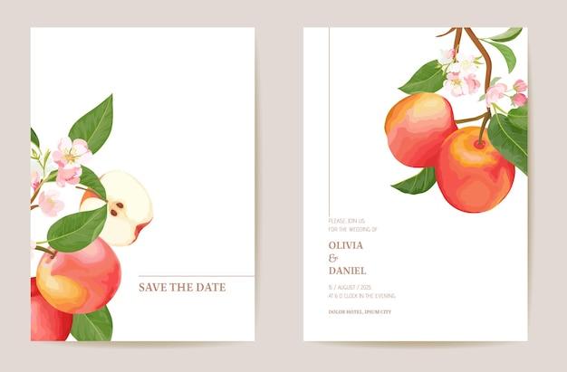 Zaproszenia ślubne brzoskwinia owoce, kwiaty, liście karty. akwarela minimalny szablon wektor. botaniczny plakat z liśćmi save the date, modny design, luksusowe tło