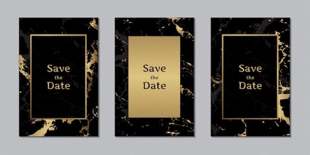Zaproszenia ślubne czarne marmurowe tekstury złota