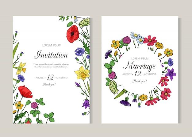 Zaproszenia ślubne. kartkę z życzeniami z letnich kwiatów dzikiej łące. szablon ulotki kwiatowy szkic retro wiosna