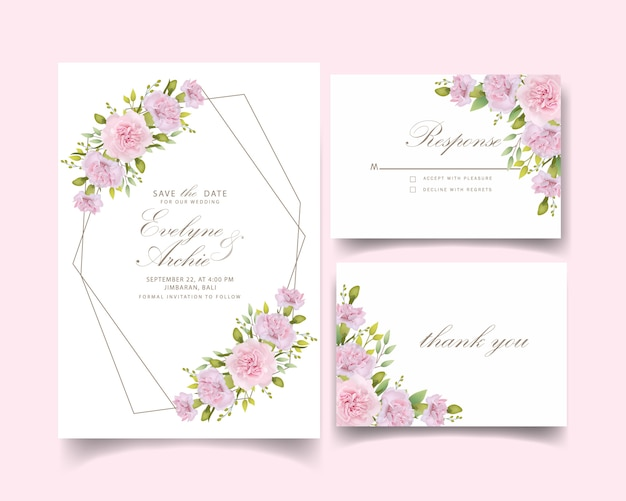 Zaproszenia ślubne kwiatowe różowe goździki