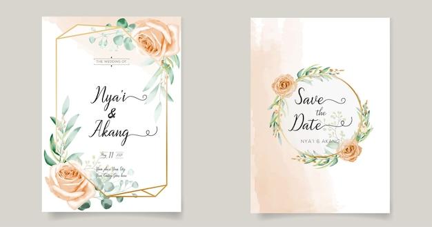 Zaproszenia ślubne kwiatowy wzór szablonu