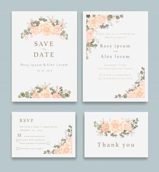 Zaproszenia ślubne oszczędzają datę z eleganckim zawilcem ogrodowym.