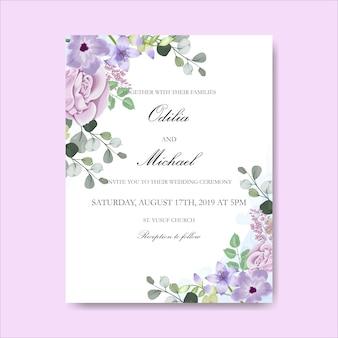 Zaproszenia ślubne piękne ręcznie rysowane kwiaty