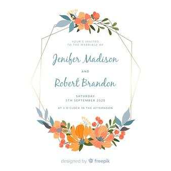 Zaproszenia ślubne płaskie kwiatowy