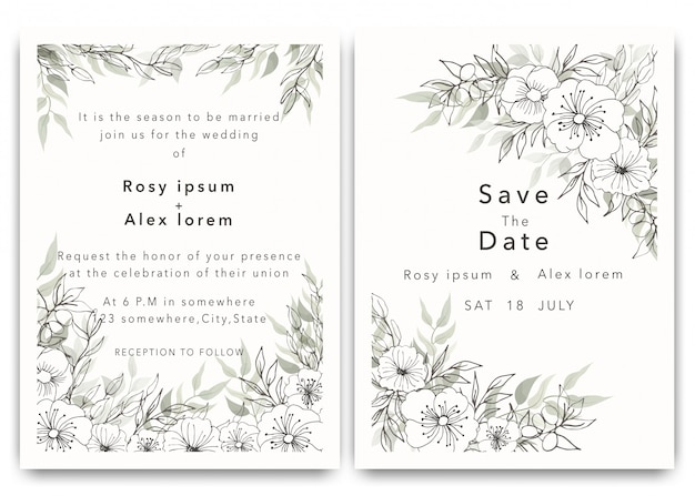 Zaproszenia ślubne pozwalają zapisać projekt karty z eleganckim zawilcem ogrodowym.