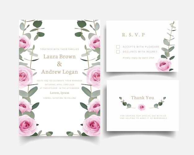 Zaproszenia ślubne róże kwiatowe i liść eukaliptusa