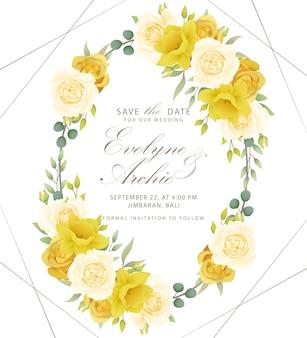 Zaproszenia ślubne róże kwiatowe i żonkile