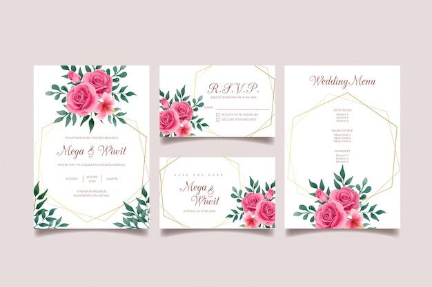 Zaproszenia ślubne różowe i zielone ze złotą ramą