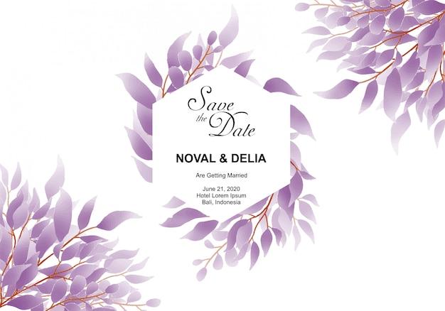 Zaproszenia ślubne w stylu przypominającym akwarele fioletowy liść ramki