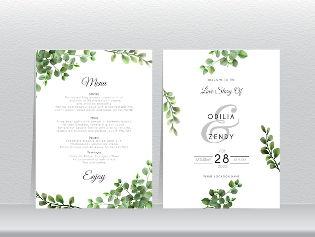 Zaproszenia ślubne z eleganckim wzorem eukaliptusa