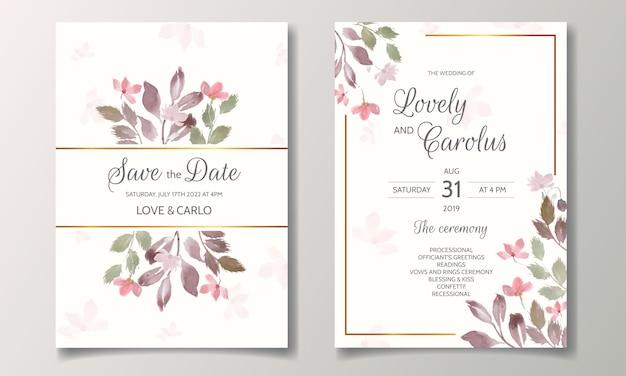 Zaproszenia ślubne z piękną akwarelą kwiatową i liśćmi
