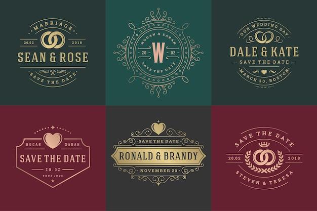 Zaproszenia ślubne zapisują datę logo i odznaki elegancki zestaw szablonów