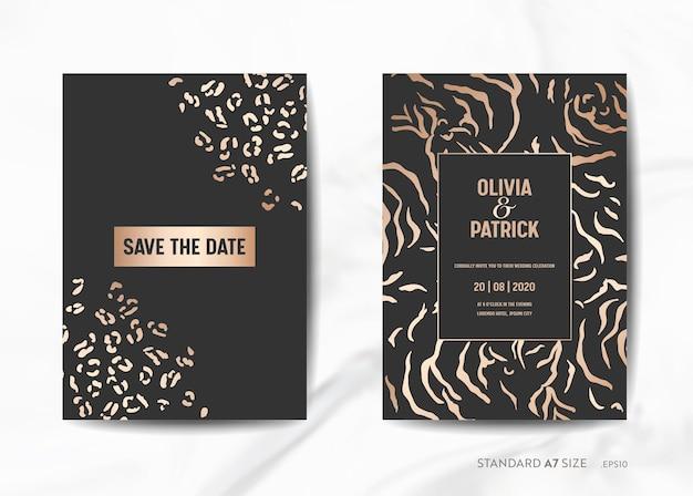 Zaproszenia ślubne, zapisz datę z modną skórą zwierzęcą złotą teksturą tła ilustracji w wektorze