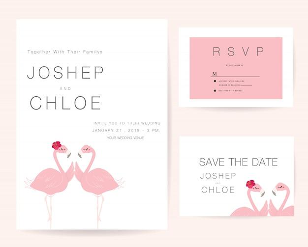 Zaproszenia ślubne zestaw flamingów
