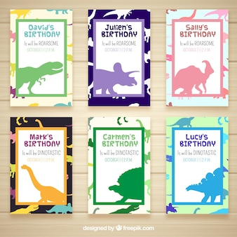 Zaproszenia Urodzinowe Z Dinozaurami Premium Wektorów