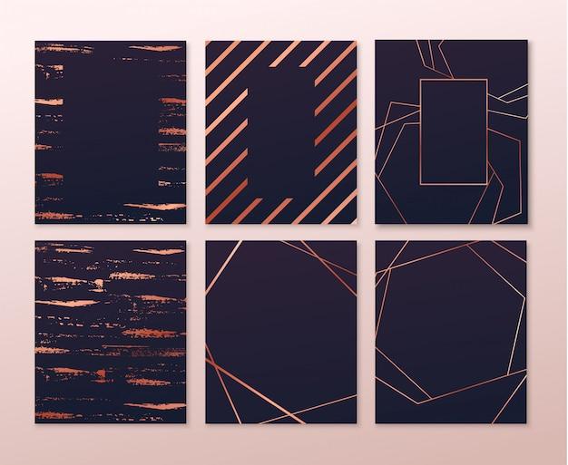 Zaproszenia z różowo-złotymi geometrycznymi wielokątnymi elementami. czarny luksus zaprasza