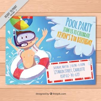 Zaproszenie akwarela na przyjęciu basen