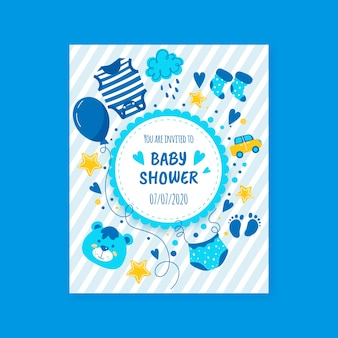 Zaproszenie baby shower chłopiec niebieski szablon