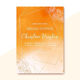 Zaproszenie dla nowożeńców prysznic z złoty akwarela tekstury