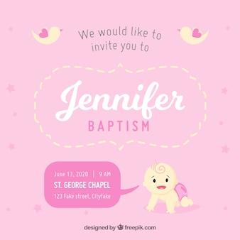 Zaproszenie do chrztu, kolor różowy