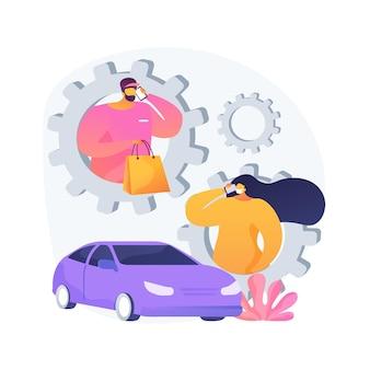 Zaproszenie do ilustracji abstrakcyjnej koncepcji załadunku produktów. numer sklepu, znak odbioru przy krawężniku, identyfikator zamówienia, miejsce parkingowe, zaopatrzenie